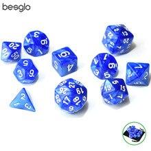 10pcs/set Polyhedral Game Dice Set with Bag D4 D6 D8 D10(0-9 1-10 00-90) D12 D20 D24 D30 for DND RPG Games