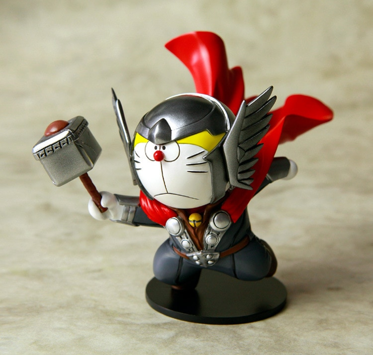 Nueva llegada 10 cm Doraemon Cosplay Cos Thor martillo colección de animación PVC figura de acción modelo juguetes regalo envío gratis