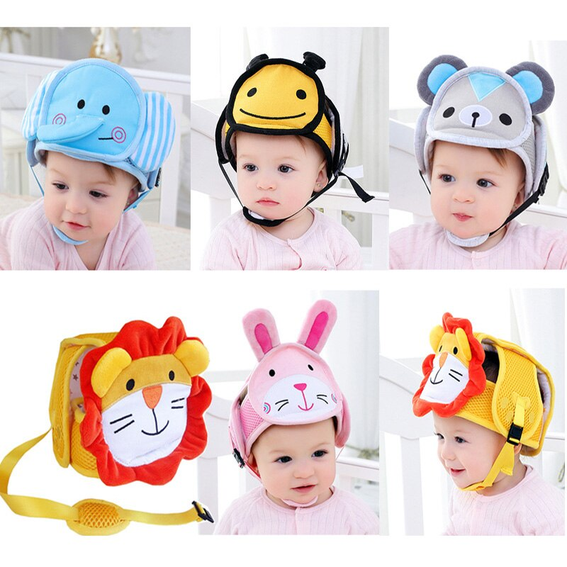 Cartoon Baby Shatter-resistant Head Protection Cap Kids Toddler Anti-hit Safety helmet Infant Bumper Cap Walking Assistant
