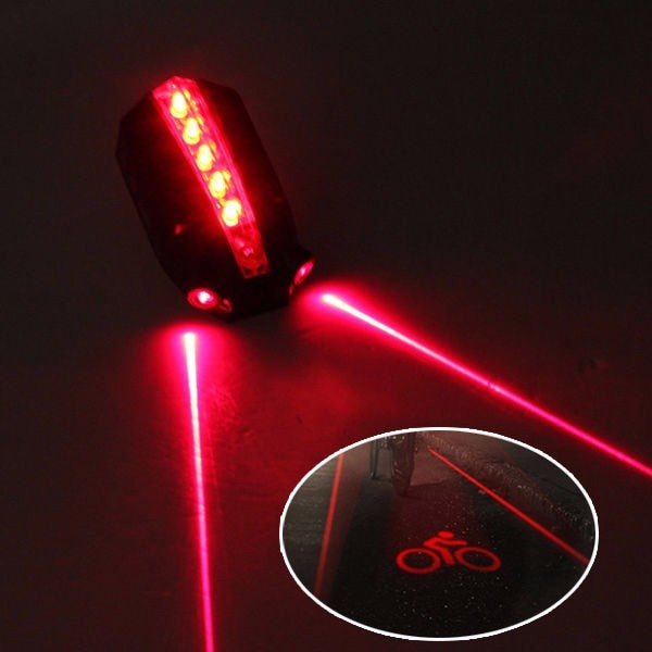 "Luz LED de bicicleta de noche 2 láser + 5 LED luz trasera de bicicleta haz de luz trasera ""logotipo de bicicleta"" advertencia de seguridad lámpara trasera roja # sw"