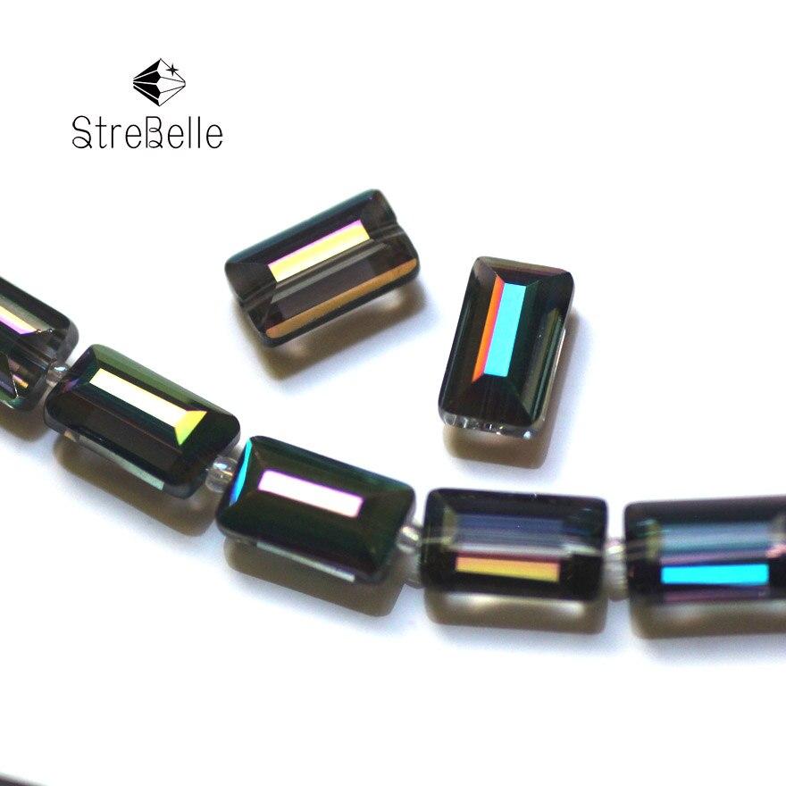 StreBelle AAA cuentas de cristal Enchapado en verde Cuentas cuadradas 18fa AAA33 6x12mm 8x14MM al por mayor