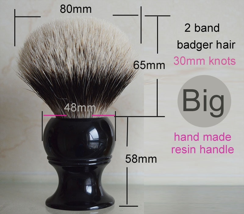 Dscosmetic 30MM tamaño grande 2 banda 100% brocha de afeitar de pelo de tejón más fino y mango de resina negra clásica 30mm nudo