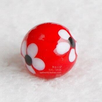 Envío gratis 10 unids/lote 16mm patrón de flor de vidrio blanco rojo bolas de mármol saltar ajedrez piezas regalos