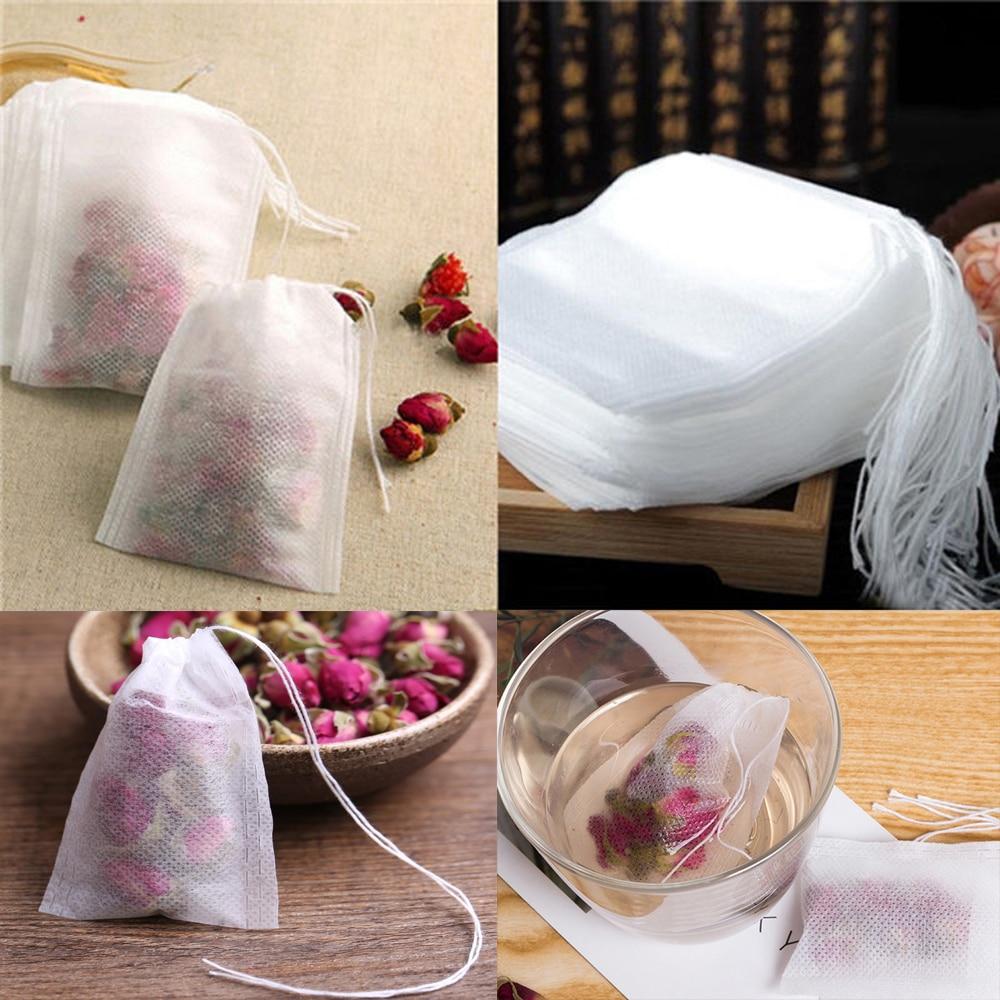 100pcs/bag tea bag 5.5 x 7CM empty tea bag with string therapy sealed filter paper Chinese medicine loose tea bag