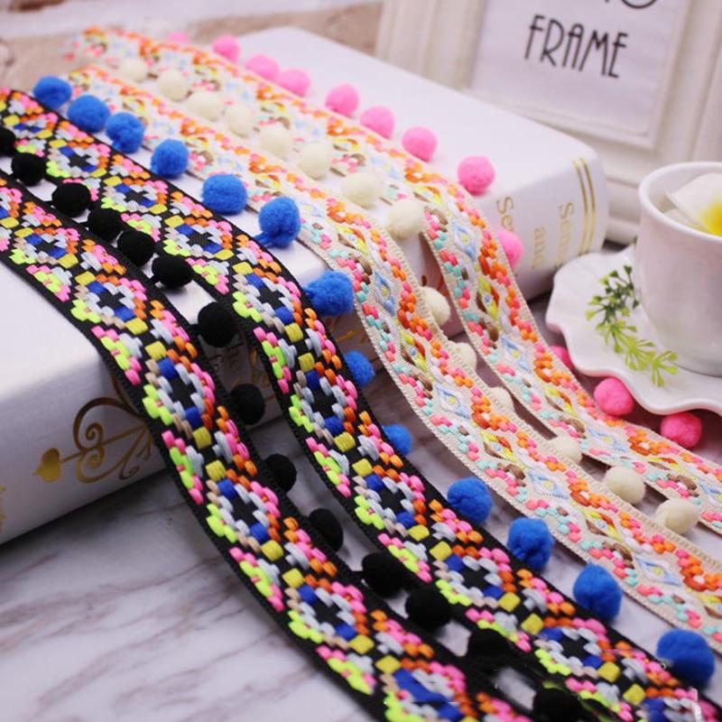 Pom Trim tela de encaje accesorios de costura pompones borla elegante bola cinta con flecos costura de encaje para DIY Material ropa artesanal