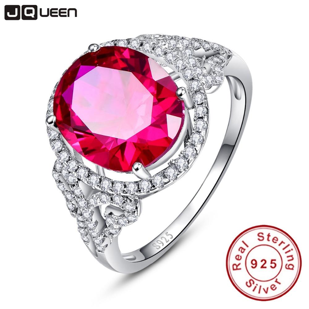 JQUEEN Vintage para mujer gema fina CT Oval paloma sangre rojo rubí anillo cóctel auténtico Real puro sólida plata 925