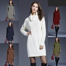 2019 플러스 사이즈 xxxxl 긴 소매 스웨터 드레스 여성 가을 겨울 두꺼운 드레스 슬림 여성 점퍼 여성 니트 겨울 드레스
