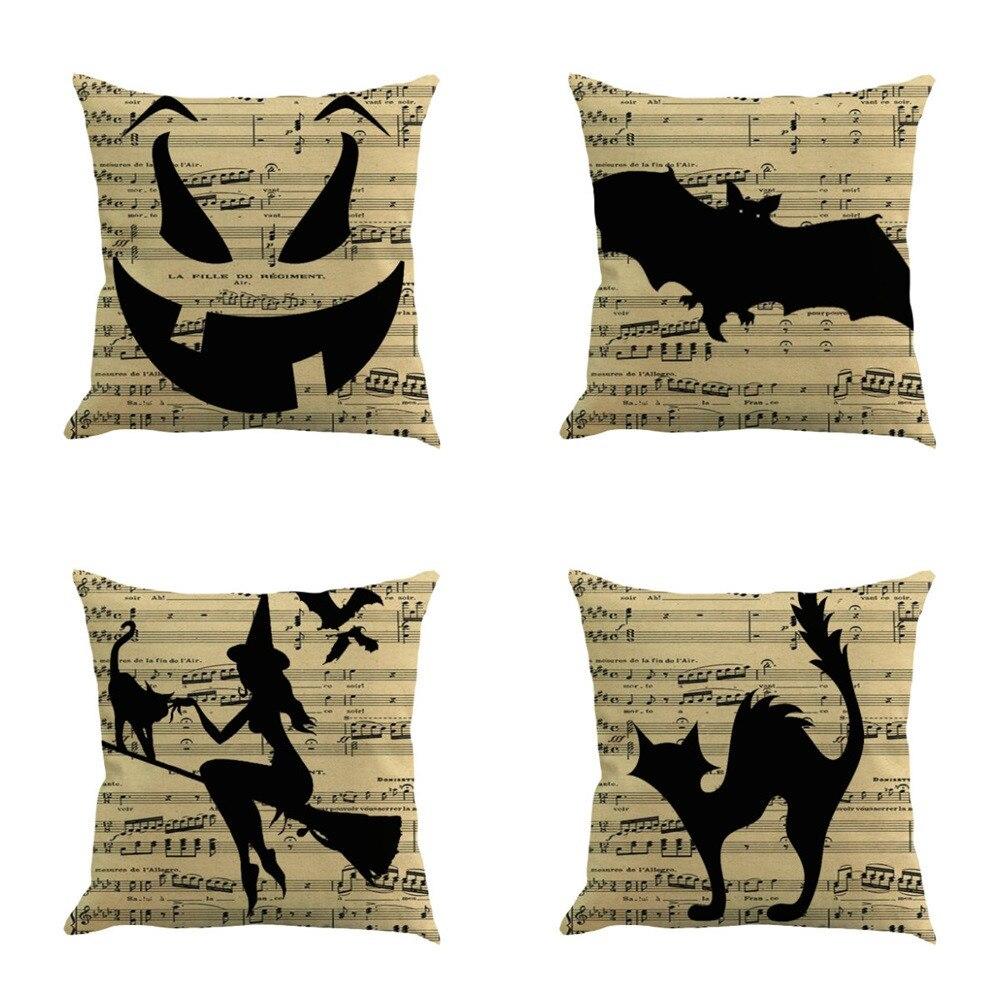 Fronhas feliz dia das bruxas sofá de linho gato música bruxa capa de almofada decoração para casa abóbora almofada decoração a30307