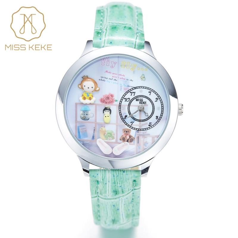 Monkey 2016 Miss Keke 3d Clay Cute Mini World Kids Watches Relogio Feminino Ladies Women Quartz Leather Wristwatches 008