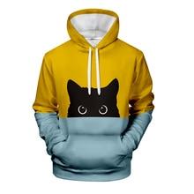 Sudadera con capucha WAMNI con diseño de gato negro en 3D para hombre y otoño, Sudadera con capucha cálida y elegante para mujer, sudaderas con XXS-4XL