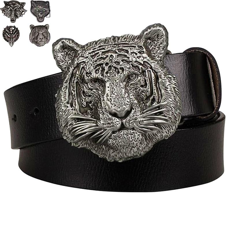 Cinturón con cabeza de Tigre, cinturón con hebilla con cabeza de león, cabeza de Lobo, águila, dragón, gato, estilo exagerado, cinturón decorativo a la moda, punk rock