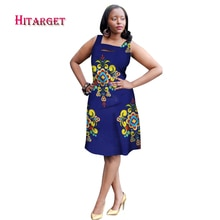 New African Dresses for Women Bazin Riche 2018 Fashion Sleeveless A-line Dresses Dashiki Kanga Ankara African Clothes WY1541