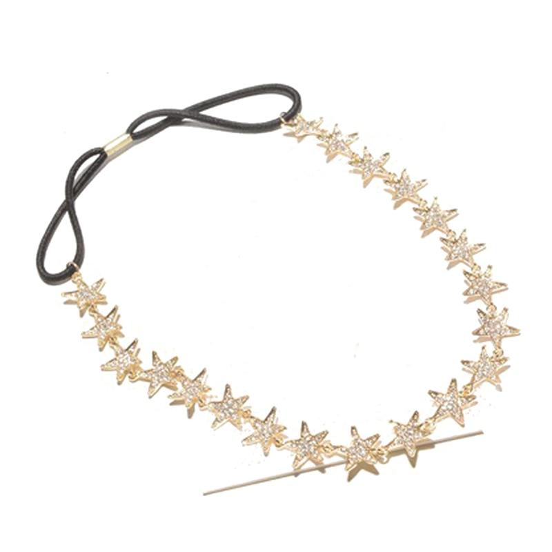 Luxury Crystal Headpiece Rhinestone Hair Head Chain Gold Star Headband For Women Party Accessories Jewelry