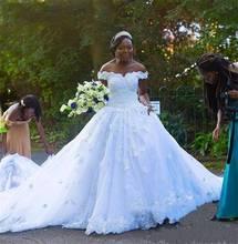 African ball gown Wedding Dresses Off Shoulder Lace Appliques Beaded 3D Floral Country Black Girl Plus Size Vestido De Noiva