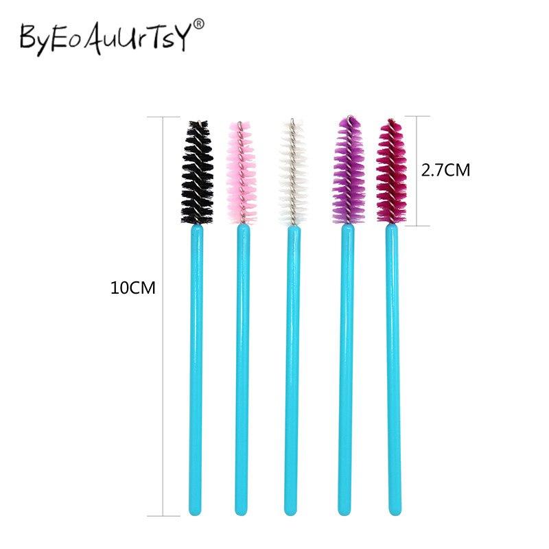 250 pçs maquiagem escova de cílios descartável rímel varinhas de extensão de cílios escova de maquiagem pente de cílios de náilon pincéis de maquiagem ferramenta mix 5 cores