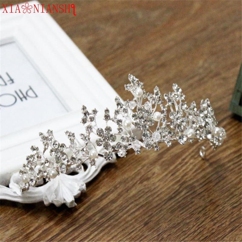 XIAONIANSHI perla de cristal austríaco joyería de Tiara para mujeres diadema nupcial princesa flor corona accesorios para el cabello de boda