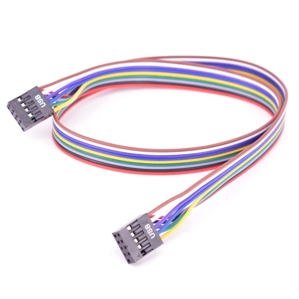 Masaüstü 9Pin USB başlığı Dişi kablo pc bilgisayar 10Pin USB 2.0 M/M veri aktarım kablosu 24AWG 50cm