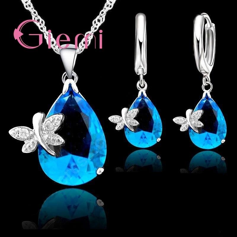 ¡90% de descuento! Original 925 Sterling conjunto de joyas de plata azul circonita cúbica de gota de agua CZ libélula collar pendiente accesorio de boda