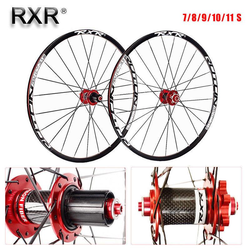"RXRBicycle Wheelset 26/27.5/29"" Mountain Bike Wheel Set 7-11S Carbon Hub Disc Clicher Tyre 25mm Rim Wheels For Shimano Cassette"