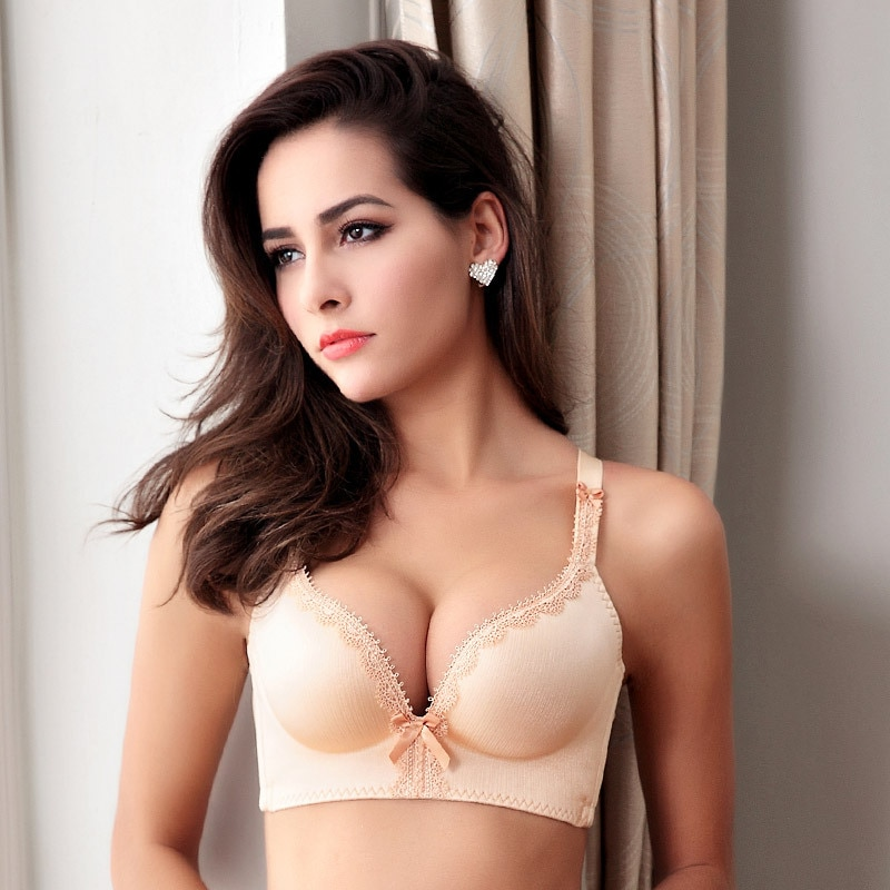 No trace gather bras sexy rimless adjustable underwear bow tie decorative underwear pregnant women and young girls can use bras enlarge
