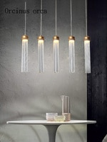Nordic modern minimalist LED glass chandelier Restaurant Bar modern postmodern creative tube crystal single head Chandelier