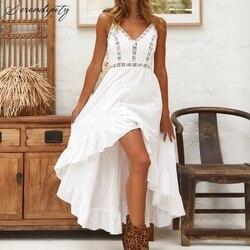 Branco sem mangas rendas vestido de natal festa feminino praia elegante vestidos de outono clube oco para fora boêmio longo sem costas