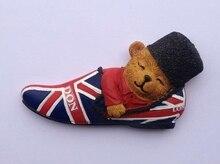 Ours en fourrure britannique de haute qualité   Peint à la main, ours en fourrure 3D, aimant de réfrigérateur, Souvenirs de tourisme dans le monde, décoration de maison