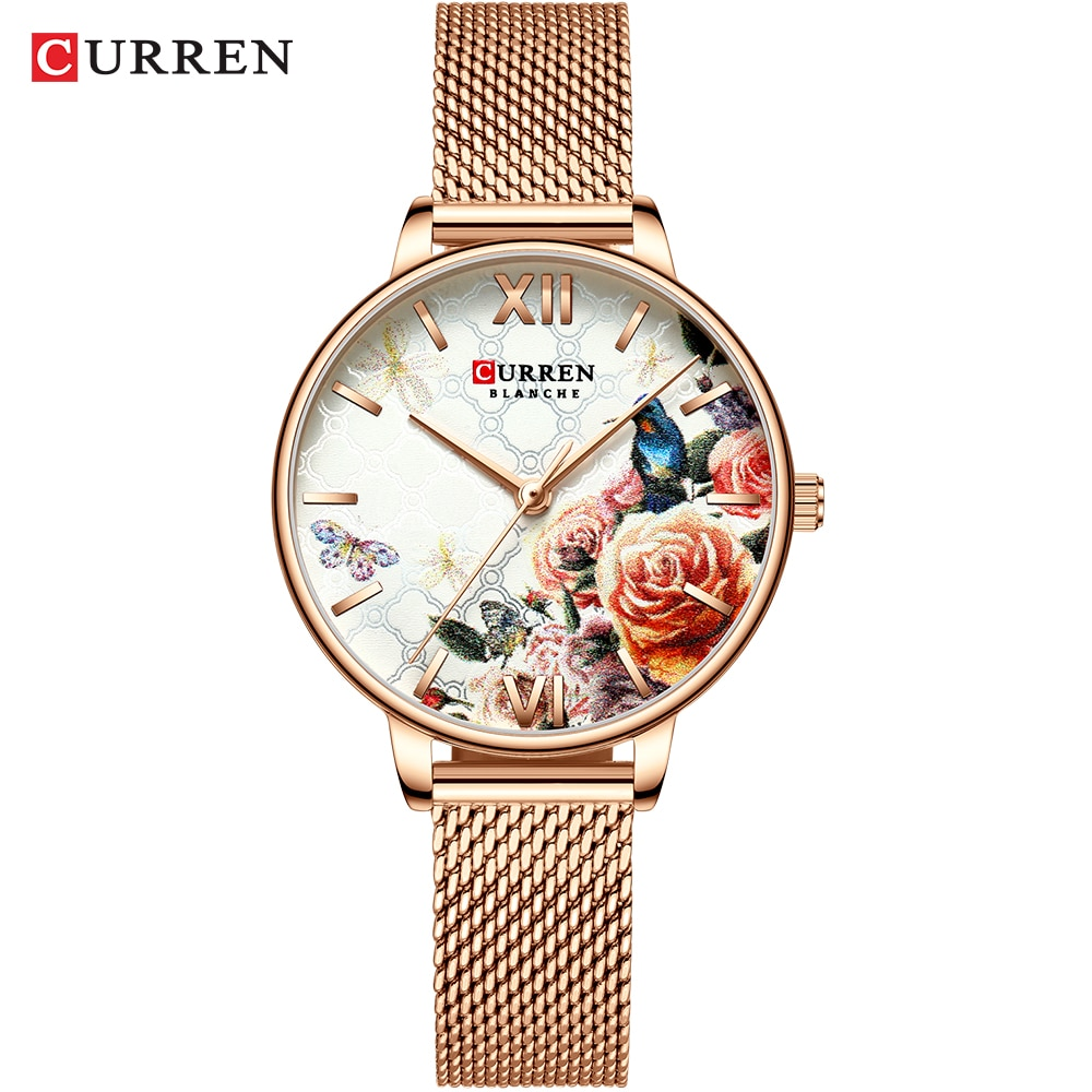 CURREN Fancy Women's Quartz Watch Rose Gold Case Colorful Flower Mesh Steel Strap Ladies Relojes Mujeres Woman Watches Dropship enlarge