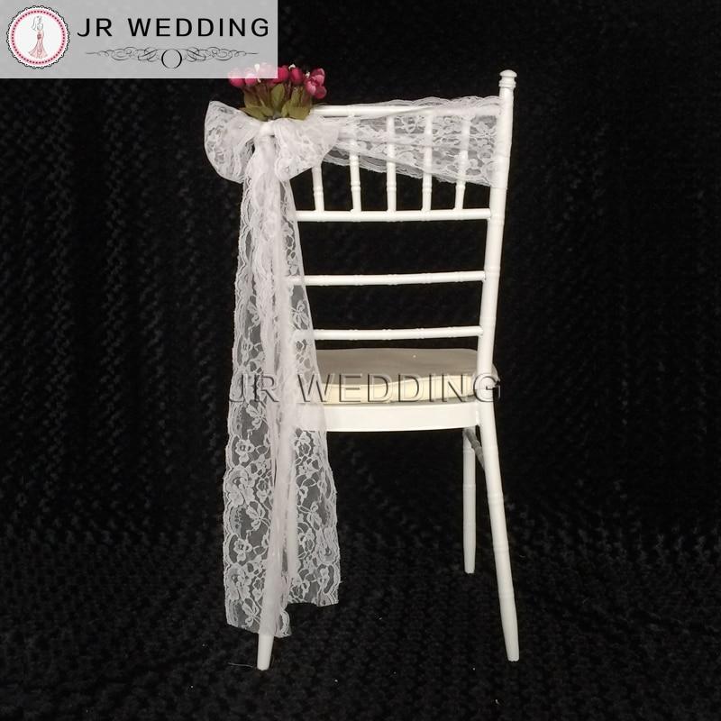 حزام كرسي من الدانتيل الأبيض ، 275 سنتيمتر ، 50 قطعة ، شحن مجاني ، زينة حفلات الزفاف