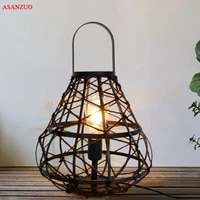 retro edison table lights lamp industrial loft wrought black lanterns rope lamp home lighting e27