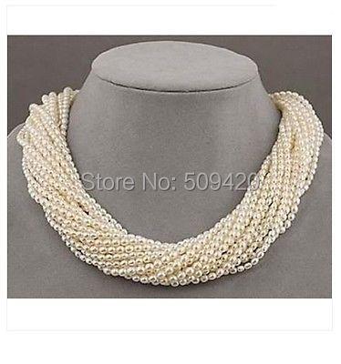 "Envío Gratis> 12 hebras akoya blanco semilla perla trenzado collar 18"""