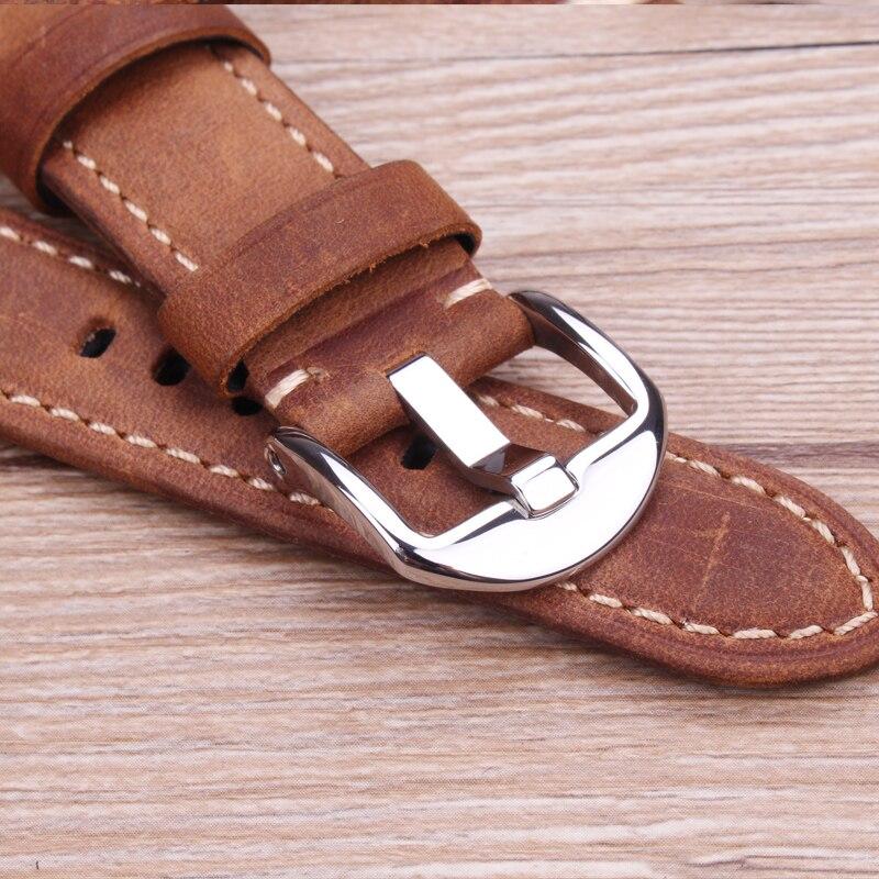 Купить с кэшбэком 22mm 24mm Watchbands For Panerai Italy Genuine Leather Watch Strap  Black Yellow Brown Wrist Band With Screw In Buckle