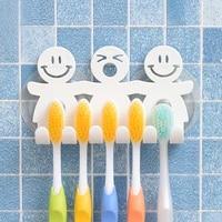 Support mural a 5 positions pour brosse a dents et visage souriant  organisateur de salle de bains