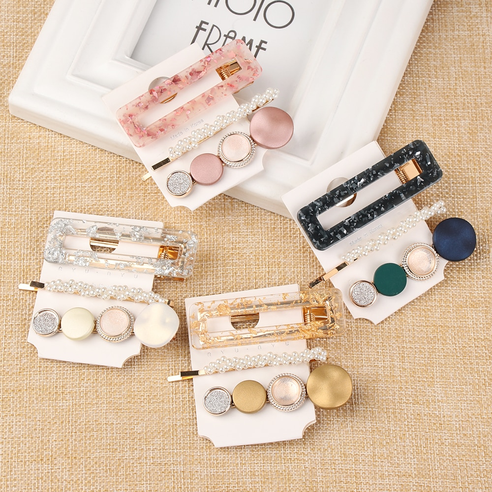 3 unids/set perlas de moda acetato geométrica pinzas de pelo para mujer niñas diadema horquillas dulces broches pelo accesorios