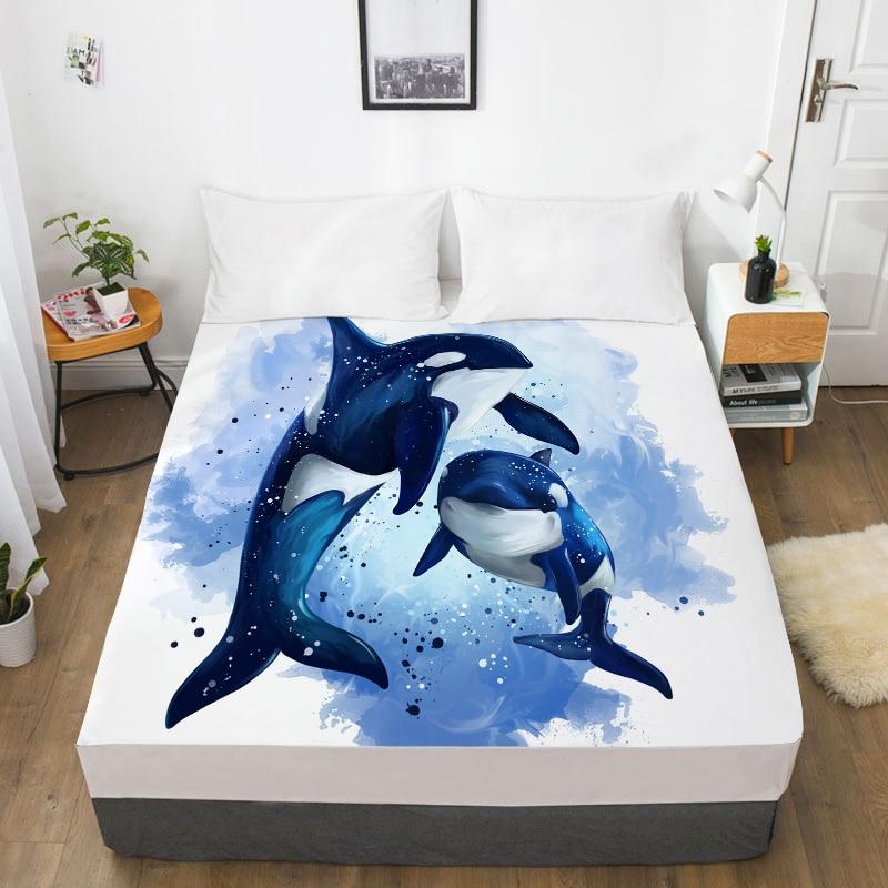 Sábana de cama con impresión Digital 3D HD personalizada elástica, 180x200 sábana ajustada, funda para colchón 160x200, ropa de cama con delfín/ballena marina