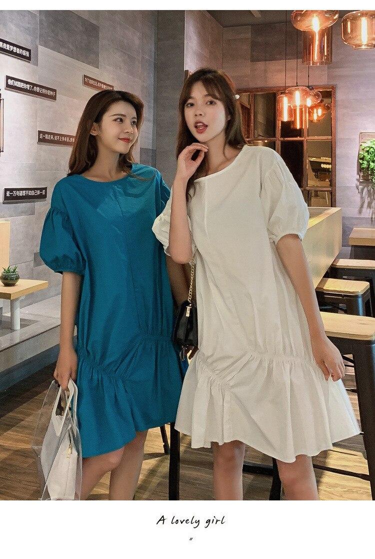Vestido de Verano de 2020, Vestido de manga corta de burbuja de gran tamaño, vestido de Hada de la miel de boudoir con manga de linterna delgada francesa