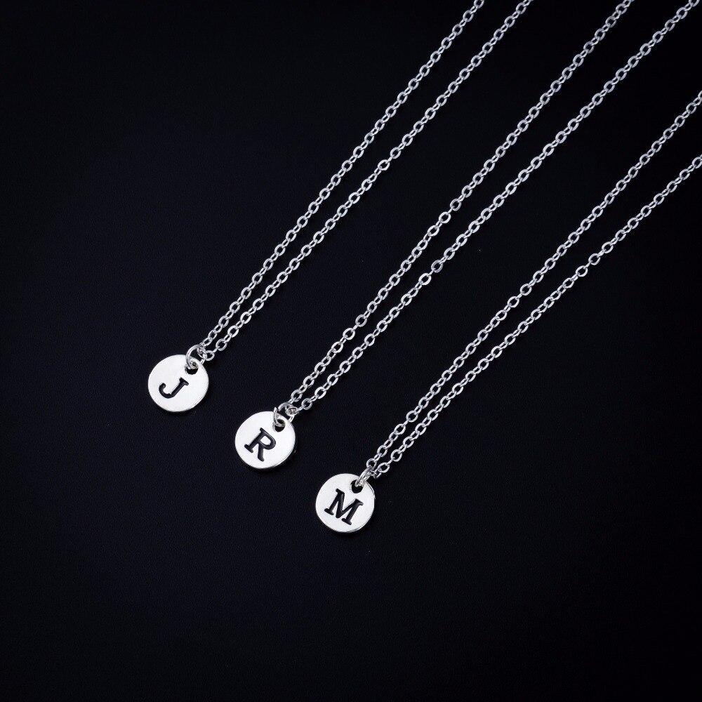 Disco letras iniciales nombre cadena collar 26 alfabeto pareja colgante joyería para mujeres moda amor regalo
