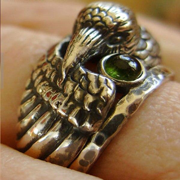 Animal Cabeça Anel Personalizado de Jóias/Animal de Bronze Do Vintage Corvo Anel Com Cristal Verde/Especial Para O Anel dos homens