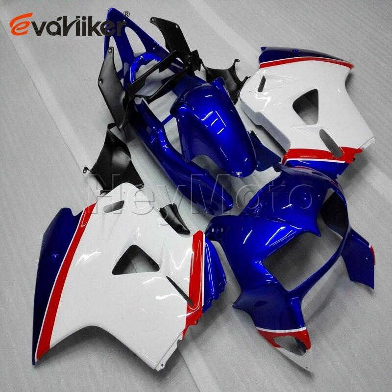 دراجة نارية هدية ل VFR800 1998 1999 2000 2001 الأزرق الأبيض VFR 800 98 99 00 01 ABS البلاستيك دراجة نارية الطربوش