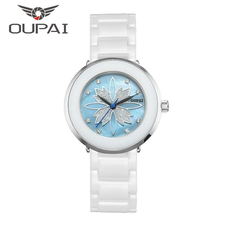 Женские часы OUPAI ceramics, кварцевые часы с керамическим ремешком и кристаллом