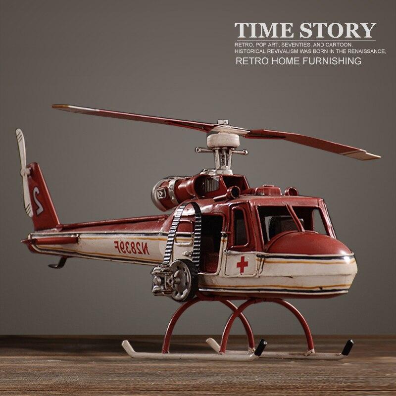 Vintage helicóptero de combate modelo retro luxo ferro arte lutadores modelo ornamento decoração para casa sala ou tv gabinete