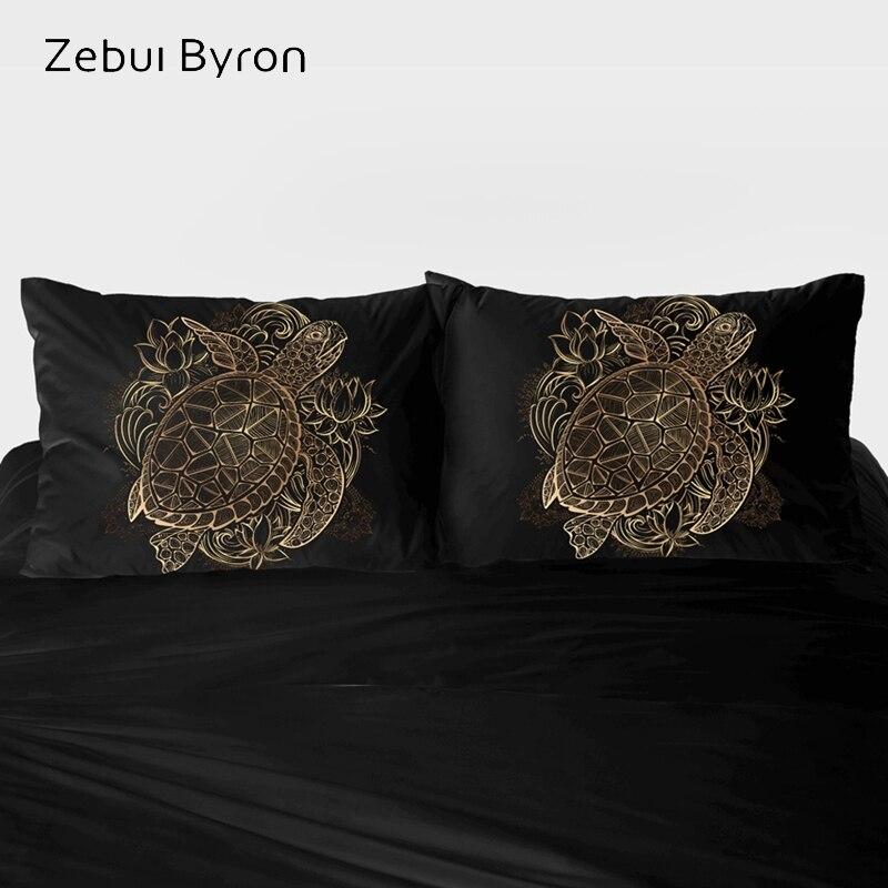 3D poszewka na poduszkę niestandardowy, 2 sztuk poszewki na poduszkę 50x70/50x75/50x80, poduszka dekoracyjna pokrywa pościel czarny złoty żółw morski, drop ship