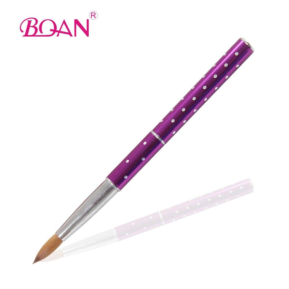 BQAN 10 #10 pçs/lote Kolinsky Cabelo Sable Unhas de Acrílico Arte Escova Alça Metálica Nail Art Escovas de Pintura Manicure Ferramenta Da Arte do prego