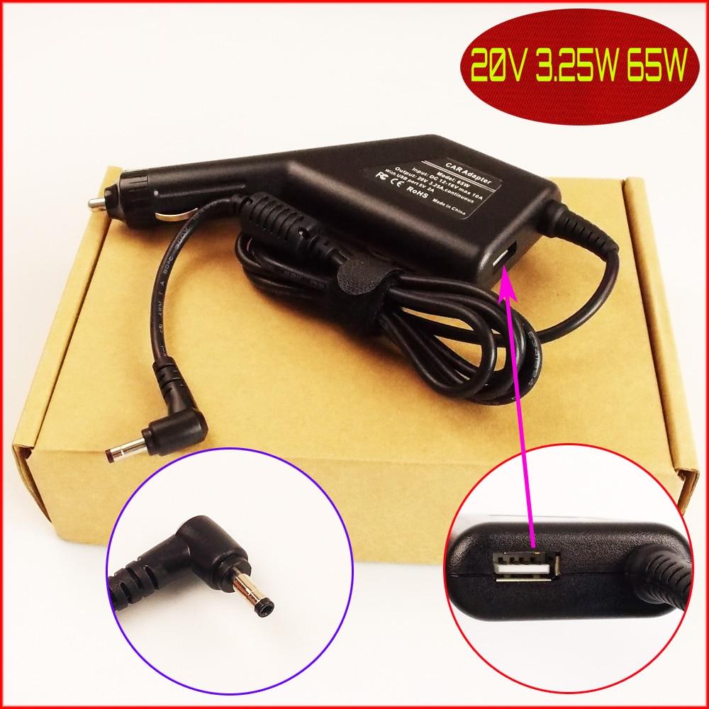 Ordenador portátil de alimentación DC Cargador/adaptador de coche 20V 3.25A + USB para Lenovo YOGA 710 510 510-14ISK 80S700BNAU 510-15IKB 80VC
