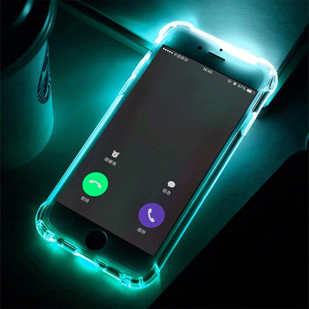 Kisscase led chamada luz caso para iphone 8 7 6 s mais casos de telefone à prova de choque tpu flash capa para iphone x xs max xr 5S