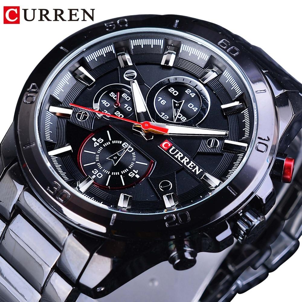 CURREN 2018 Hour Male Luminous Hands Men Waterproof Mens Sport Watch Top Brand Luxury Stainless Steel Clock Military Casual