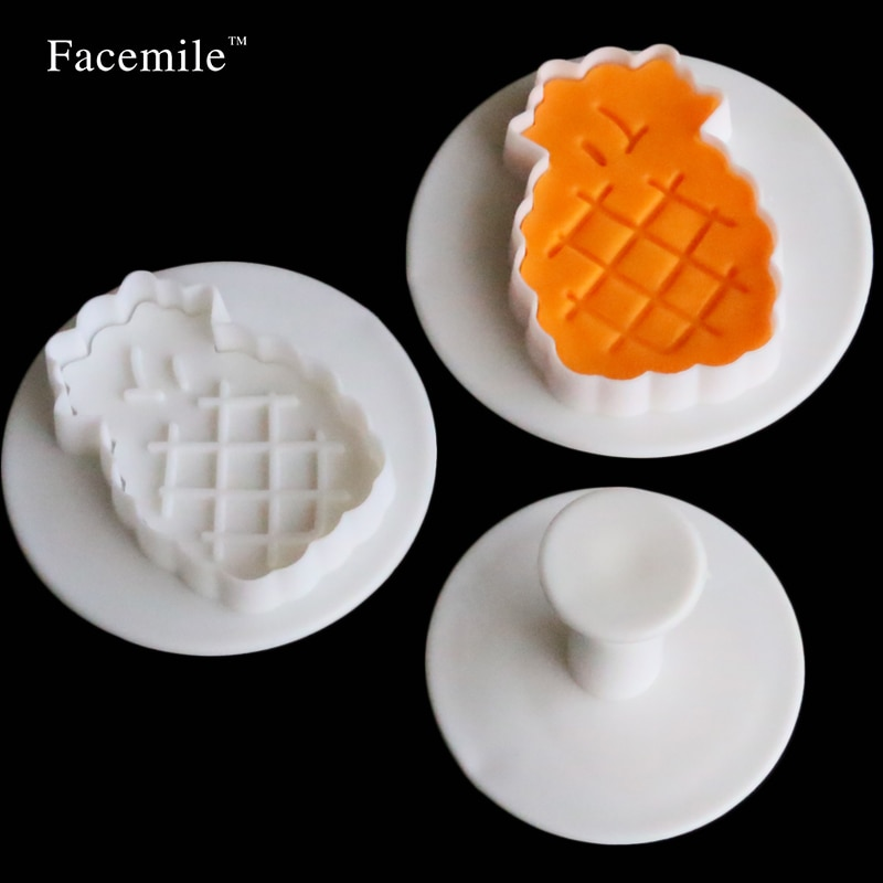 Facemile Brand 3 tamaño piña fruta galletas cortador Fondant moldes para decorar pasteles pasta herramientas de pastelería 04098