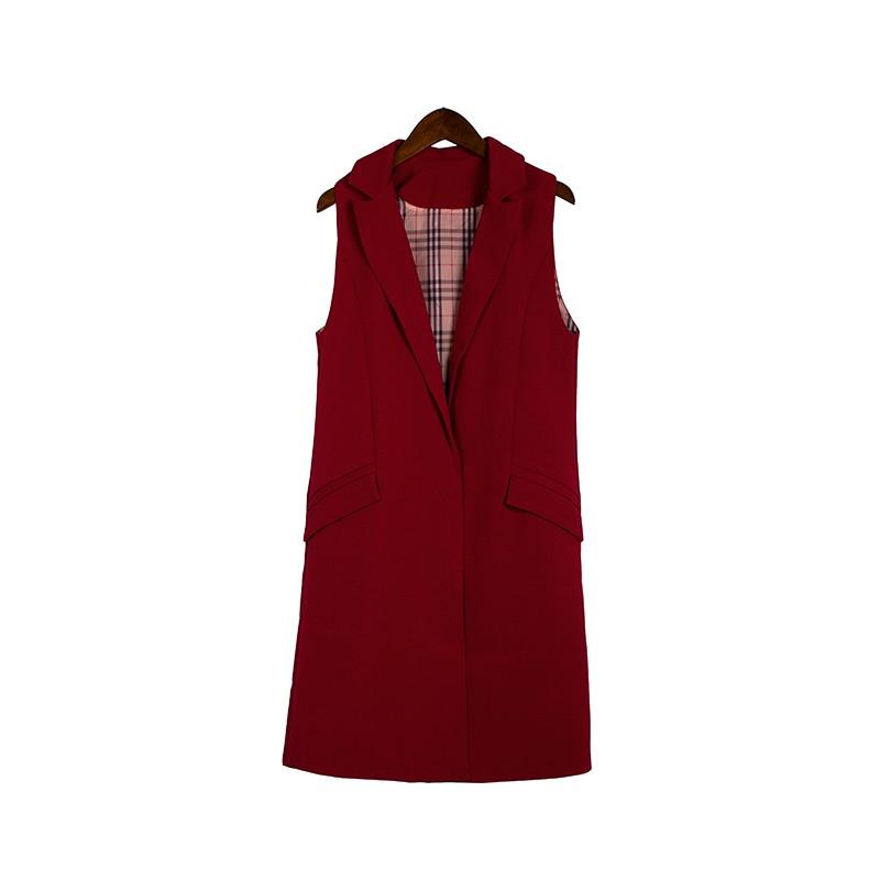 2017 wiosna nowy mody długie kieszenie turn-dół collar otwórz stitch pantone niebieski różowy beżowy czarny żakiet kamizelka bez rękawów kurtki 29