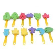 12 Uds conjunto de pinceles con esponja jardín de infantes niños Graffiti Art sello de esponja niños proceso de pintura