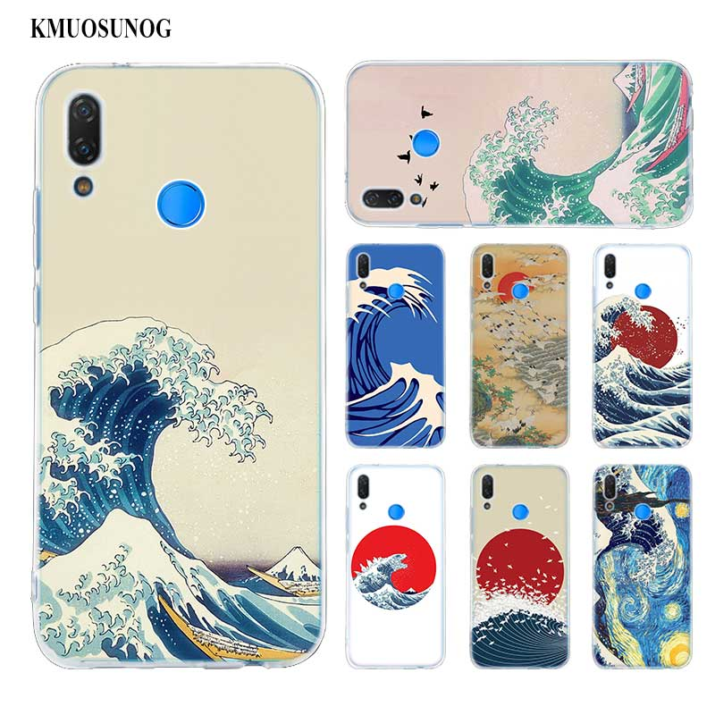 ¡Producto en oferta! Carcasa de teléfono de silicona suave Japonesa de Arte de ola para Huawei P Smart Plus 2019 P30 P20 P10 P9 P8 Pro Lite 2017, Mini funda